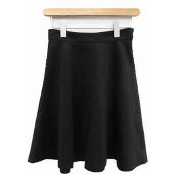 【中古】ダイアグラム グレースコンチネンタル Diagram GRACE CONTINENTAL スカート フレア ひざ丈 ラメ 36 黒 ブラック /HR