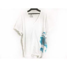 【中古】 アンダーアーマー UNDER ARMOUR 半袖Tシャツ サイズM レディース 美品 白 ブルー ダークグレー