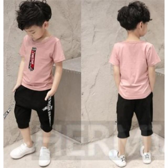 子供服 男の子 2点セット セットアップ Tシャツ ショートパンツ 上下セット 可愛い カジュアル 韓流 夏 春 女の子にも