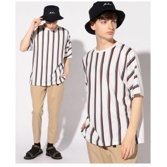 【50%OFF】 メンズビギ ライトポンチストライプTシャツ メンズ ボルドー L 【Men's Bigi】 【セール開催中】