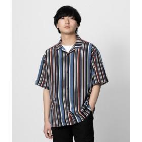 SENSE OF PLACE(センスオブプレイス) トップス シャツ・ブラウス ストライプオープンカラーシャツ(5分袖)