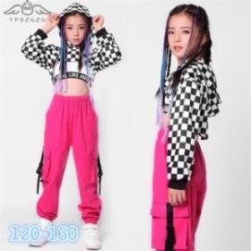 ダンス 衣装 ヒップホップ ダンス衣装 セットアップ チェック柄 ジャズダンス衣装  女の子 長袖 タンクトップ HIPHOP