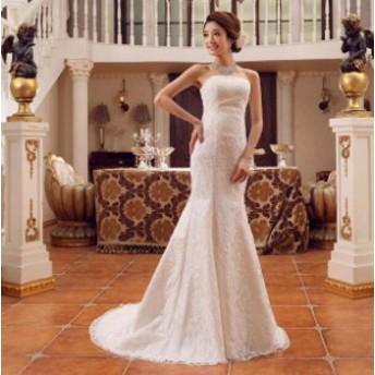 即納 二点送料無料ウェディングドレス マーメイドドレス トレーンドレス エンパイアプリンセス風 ロングドレス 撮影 結婚式 ブライダルド
