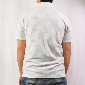 ポロシャツ - NEVEREND T/C梨地 格子総柄 4B スキッパー ポロシャツ 9403-213