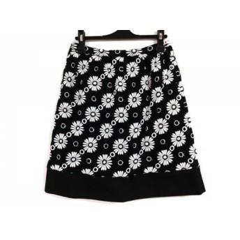 【中古】 エムズグレイシー M'S GRACY スカート サイズ38 M レディース 黒 白 花柄/刺繍