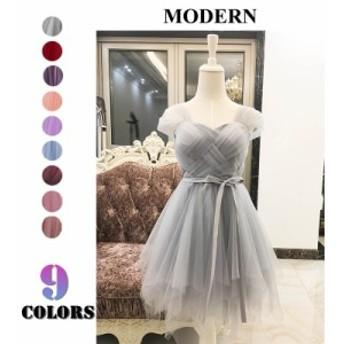 全9色 ワパーティードレス ワンピース ドレス ライズメイドドレス 膝丈スカート レーススカート 花嫁 結婚式 ウエディングドレス