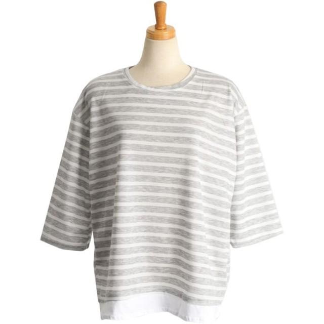 ボーダー クルーネック 7分袖 Tシャツ レディース
