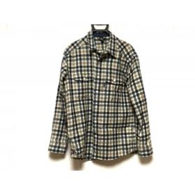【中古】 モンベル mont-bell 長袖シャツ サイズM メンズ ネイビー ライトグレー アイボリー チェック柄