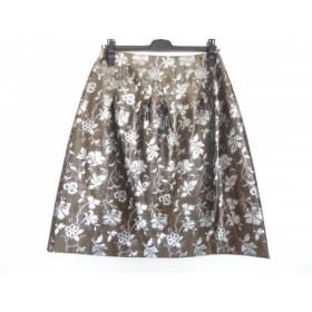 【中古】 ユキトリイ YUKITORII スカート サイズ38 M レディース ダークブラウン シルバー 花柄