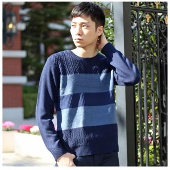 【50%OFF】 メンズビギ 編み柄切り替えボーダーニット メンズ ネイビー M 【Men's Bigi】 【セール開催中】