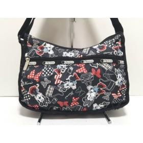 【中古】 レスポートサック ショルダーバッグ 美品 黒 白 レッド Disney/Minnie Mouse レスポナイロン