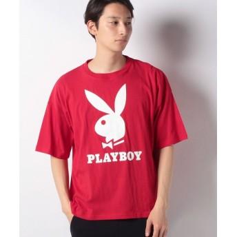 マルカワ プレイボーイ ビッグシルエット アイコンロゴ 半袖Tシャツ メンズ レッド L 【MARUKAWA】