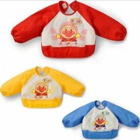 ベビー 長袖 エプロン 子供 幼児 スモック 食事用 アンパンマン柄 キャッチポケット付き 全3色 1歳 2歳 (3色set)