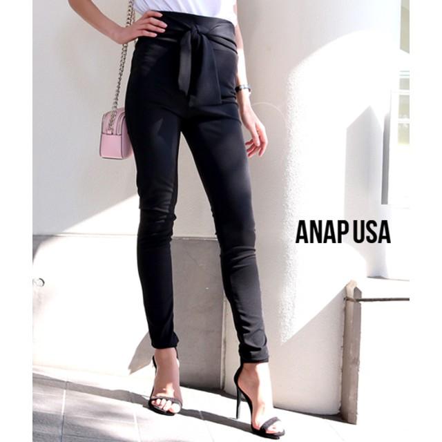 ANAP(アナップ)フロントリボンブラックスキニーパンツ