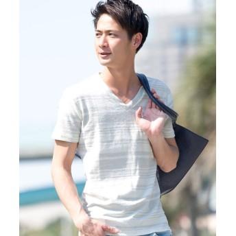 シルバーバレット VICCI裏毛パイルボーダーVネック半袖Tシャツ メンズ グレー 44(M) 【SILVER BULLET】