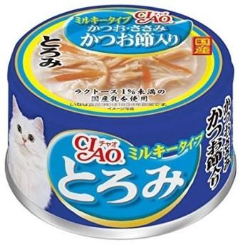 ◇いなばペットフード CIAO(チャオ) とろみ ミルキータイプ かつお・ささみ かつお節入 80g缶