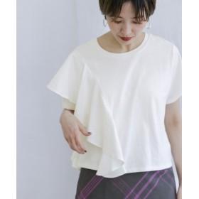 KBF(ケービーエフ) トップス Tシャツ・カットソー 異素材フリルTシャツ