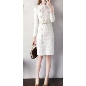 【送料無料】 スーツワンピース パールボタン 白スーツ タイトスカート オフィス 通勤 OL 入学式 卒園式 きれいめ