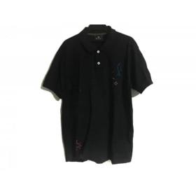 【中古】 ポールスミス PaulSmith 半袖ポロシャツ サイズL メンズ 黒 レッド ブルー
