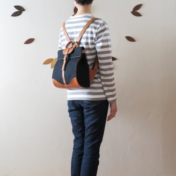 Paraffin canvas back pack「Escargot」mini BLACK