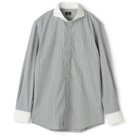 【50%OFF】 メンズビギ ピンヘッドワイドストライプシャツ メンズ ブラック S 【Men's Bigi】 【セール開催中】