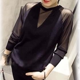 ブラウス - shoppinggo Tシャツ レディース ゆるカットソー 切替tシャツ シースルー ブラウス