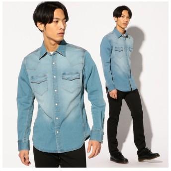 【50%OFF】 メンズビギ 6.2オンスハイパーストレッチデニムウエスタンシャツ メンズ ブルー L 【Men's Bigi】 【セール開催中】