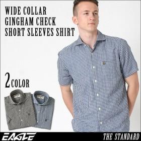 シャツ 半袖 メンズ ワイドカラー チェック柄 大きいサイズ 日本規格|ブランド EAGLE THE STANDARD イーグル|半袖シャツ ギンガムチェック
