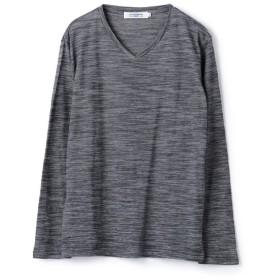 メンズビギ スラブミジンボーダーVネックTシャツ メンズ ネイビー L 【Men's Bigi】