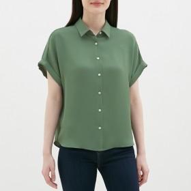 (GU)エアリーシャツ(半袖) GREEN M