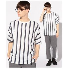 【50%OFF】 メンズビギ ライトポンチストライプTシャツ メンズ ネイビー M 【Men's Bigi】 【セール開催中】