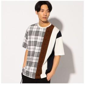 【50%OFF】 メンズビギ 切替ビッグTシャツ メンズ ホワイト系その他 L 【Men's Bigi】 【セール開催中】