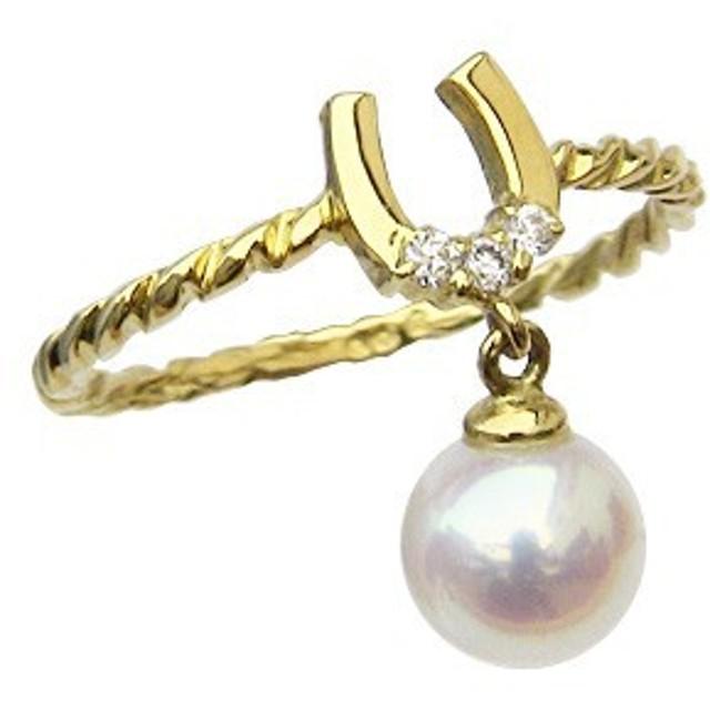 パール ピンキーリング 真珠 指輪 ホースシュー 馬蹄 ダイヤモンド K18ゴールド 指輪 おしゃれ