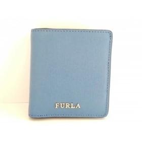 【中古】 フルラ FURLA 2つ折り財布 美品 ネイビー レザー