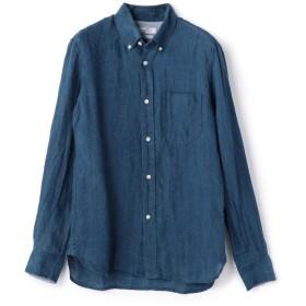 【50%OFF】 メンズビギ インディゴボタンダウンリネンシャツ メンズ ダークネイビー L 【Men's Bigi】 【セール開催中】