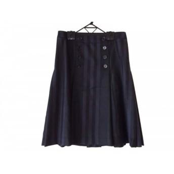 【中古】 バーバリーロンドン スカート サイズ40 L レディース ネイビー カーキ チェック柄/ラメ