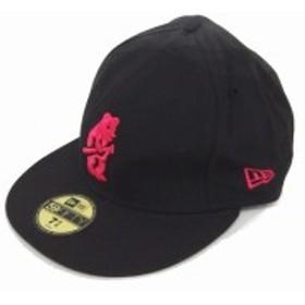 【中古】ニューエラ NEW ERA 帽子 野球帽 キャップ 刺繍 ロゴ サイズステッカー 7 5/8 黒 ブラック /TT46 メンズ