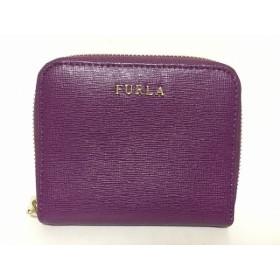 【中古】 フルラ FURLA 2つ折り財布 パープル ラウンドファスナー レザー