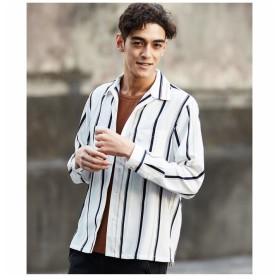 【50%OFF】 メンズビギ マルチストライプオープンカラーシャツ メンズ ホワイト系その他 M 【Men's Bigi】 【セール開催中】