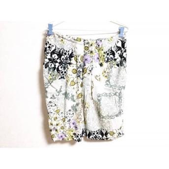 【中古】 エトロ ETRO スカート サイズ46 L レディース 白 パープル マルチ 花柄