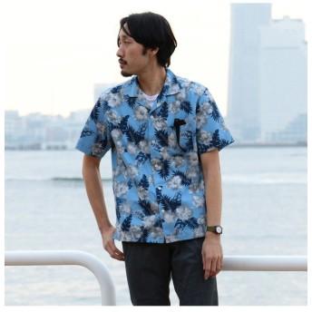 【50%OFF】 メンズビギ オープンカラーシャツ(開襟シャツ)/フラワープリント メンズ サックスブルー M 【Men's Bigi】 【セール開催中】