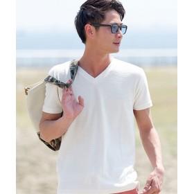 シルバーバレット VICCI裏毛パイルボーダーVネック半袖Tシャツ メンズ ホワイト 46(L) 【SILVER BULLET】