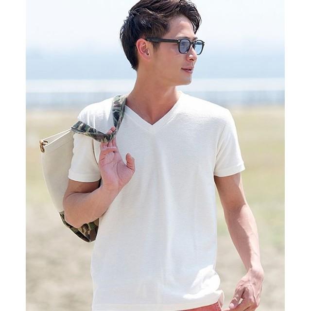 64c1b69a3cbe83 シルバーバレット VICCI裏毛パイルボーダーVネック半袖Tシャツ メンズ ホワイト 46(