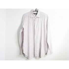 【中古】 オリアン ORIAN 長袖シャツ サイズ40 M メンズ 白 パープル ストライプ/BEAMS