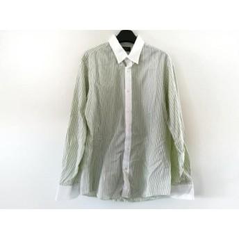 【中古】 エポカ 長袖シャツ サイズ46 XL メンズ 白 ライトグリーン ダークネイビー UOMO/ストライプ