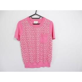 【中古】 ケイトスペード Kate spade 半袖カットソー サイズM レディース ピンク 白 刺繍