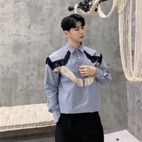 シャツ - BIG BANG FELLAS フリンジ デザインシャツ ゆったり 肩章 モード系 韓流 韓国 ファッション メンズ サロン系 原宿系 韓国系メンズ ボタンダウンカットソー 長袖 メンズ ストリート系 モードストリート K-POP アイドル 衣装