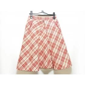 【中古】 バーバリーブルーレーベル スカート サイズ36 S レディース レッド アイボリー チェック柄