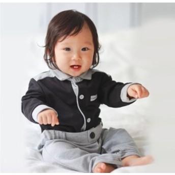 モノトーンカジュアル♪ ロンパース 長袖 ゆったり モノクロ バイカラー 韓国子供服 シャツ 長袖 ブラウス ボヘミアン 刺繍 タッセル 綿1
