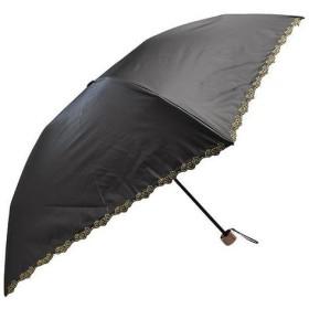軽量遮光遮熱 晴雨兼用 折りたたみ傘 フラワー刺繍 ブラック
